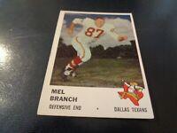 1961 Fleer Football #208 Mel Branch - Dallas Texans / KC Chiefs - VG