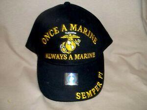 Once a Marine Always a Marine, High Quality 100% Cotton Ballcap