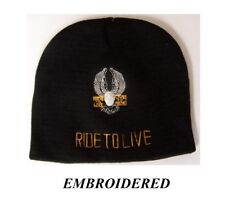 RIDE TO LIVE EAGLE EMBROIDERED BEANIE BIKER KNIT HAT Shorty Skull Cap Wings