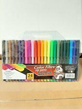 24pcs Kids Children Coloured Felt Tip Fibre Pens Assorted Colouring Set