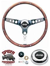 "1986-1995 Wrangler Commanche steering wheel JEEP 13 1/2"" CLASSIC WALNUT"