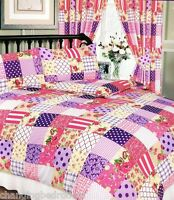 VINTAGE PURPLE BERRY FLORAL PATCHWORK DUVET SET IN DOUBLE KING SUPERKING CURTAIN