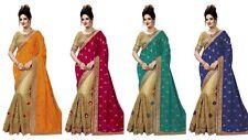 Indian Pakistani Saree Bollywood Wedding Embroidery Work Sari Blouse Bridal NF