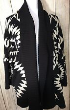 LOVE CULTURE Women's Geometric Pattern Shawl Collar B&W Sweater Drop 3/4 Sleeve
