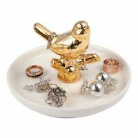 Gold Ceramic Ring Holder Jewelry Organizer Tray Trinket Dish for Vanity, Bird
