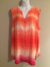 Women's APT.9 Multi-Color Sleeveless V-Neck Button Front Blouse    Size 3X   NWT