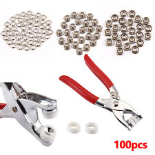 UK 100pcs Prong Pliers Ring Press Studs Snap Popper Fasteners 9.5mm DIY Tool Kit