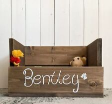 Small Dog Wooden Toy Storage Crate Personalized