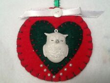 Christmas ornament,  White owls, handmade felt decorations or gift tag