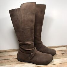 c9713b7929eb The North Face Brown Leather Side Zip Knee High Riding Boots Waterproof  Women 10