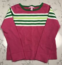 Lilly Pulitzer Girls Medium 6-7 Heavy Cotton Sweater EUC Watermelon Pink Green