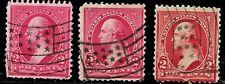 "3 x ""Flag"" Fancy Cancel SON 2 Cent Bureau Untyped 1894-95 Early US 1835"