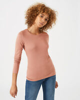 Jigsaw Pima Cotton Long Sleeve Crew Top Womens New Pink Clay Pink