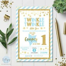 Twinkle Little Star Invitation Invite 1st First Birthday Party Card Blue Boy