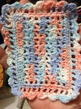 CROCHETED By Artist MINIATURE DOLLHOUSE  BLANKET Pastel Sparkle Number Two