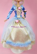Blue & Gold Pink Rose Renaissance Princess Barbie Doll Fashion Ball Gown Dress