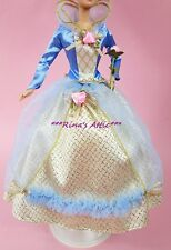 Blue & Gold Pink Rose Renaissance Princess Barbie Doll Fashion Ball Gown Dress