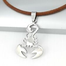 Silver Scorpio Zodiac Symbol Scorpion Pendant Womens Mens Brown Leather Necklace