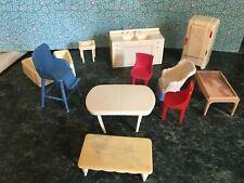 New ListingVintage Marx Renwal Dollhouse Kitchen Bath Furniture Cream Blue Red