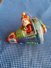 "RAZ 4.5"" Blown glass Santa in Apollo Space ship Christmas Ornament"