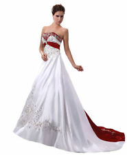 New White&Red Embroider Ball Gown Wedding Dresses Plus Size Bridal Gowns
