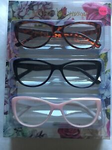 Betsy Johnson Women's 3 Pair Reading Readers Glasses +2.00 Black Brown Pink NEW