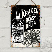 KRAKEN RUM Replica Vintage Metal Wall sign Retro Pub Bar Mancave Tattoo Drink
