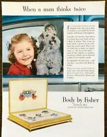 1952 General Motors Body by Fisher PRINT AD Daughter w Her Cute Dog Car Window