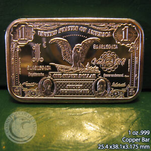 """$1 Black Eagle Banknote"" 1 oz .999 Copper Bar"