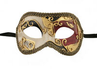 Maschera Di Venezia Columbine Dorata Rosso Nero Per Ballo 1098 V55