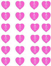 Keep Calm and Eat Cake Pink Heart Edible Cupcake Wafer Paper Toppers x 24