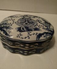 Chinese Oriental Blue and White Dish Bowl With lid