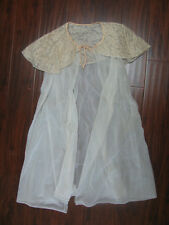 VTG 60s 50s Beige Vanity Fair Size Small Sheer Robe Lace Tricot Nylon Womens