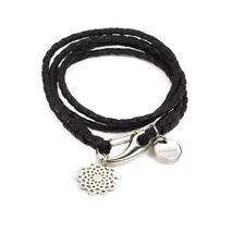 Keeeart Simona in cuoio intrecciato braccialetto Wrap Donna Nero & Silver Star Charm
