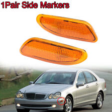 Pair For Benz W203 C-Class 01-07 Amber Side Marker Light Bumper Turn Signal Lamp