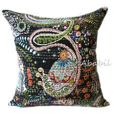 "16"" Black Floral Print Pillow Cover Kantha Stitch Cotton Indian Cushion Case Art"