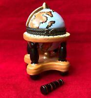 Miniature Painted World Map Globe Hinged Trinket Box Mini Telescope Figurine