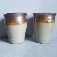 Set Lot 2 Handmade Signed Pottery Coffee Cups Mugs Tea Stoneware Artisan Browns