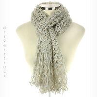 CANDIE'S Women's BEIGE & GREY Winter SCARF with FRINGE Open Weave GOLD METALLIC