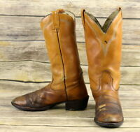 Acme Cowboy Boots Brown Leather Mens Size 9.5 B Narrow Distressed Western VTG