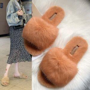 Women Faux Fur House Slippers Shoes Winter Furry Plush Flat Sandals Slip on