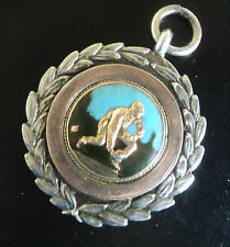 Heavy Stg. Silver & Gold + Enamel Fob Medal or Pendant h/m 1929 Bowling or Bowls
