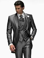Grey Mens Wedding Suits Groom Tuxedo 3 Piece Formal Prom Party Jacket Pants Vest