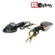 2 CLIGNOTANTS REPLAY MINI TRIANGLE UNIVERSEL TRANSPARENT/CARBONE MAXISCOOTER