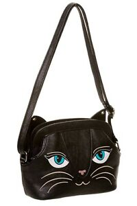 Black Kitty Cute Cat with Bell on Ear Cross Body Shoulder Bag BANNED Apparel