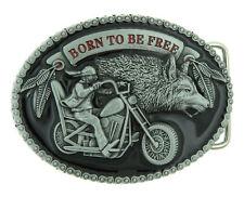 Born to be Free Motorcycle Biker & Wolf Black Enamel Metal Belt Buckle