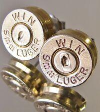 9MM Luger WINCHESTER Bullet Earrings Gold Brass Handgun Cufflinks Police Style