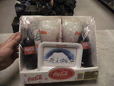 1997 Coca-Cola Collectible gift, K-MART , 2 Full Cokes with Glasses & Bear Tray
