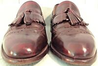 Johnston Murphy Wingtip Loafer Mens 9D Burgundy Leather Tassel Kiltie Dress Shoe