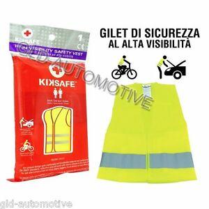 GILET di Sicurezza GIALLO Alta Visibilità Tg m-xxl Auto Bici Omologato KIKSAFE